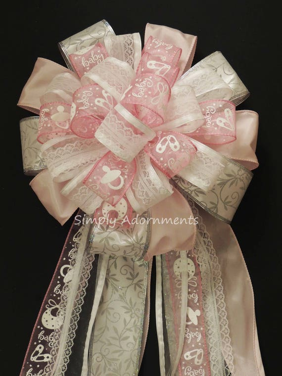 It's a Girl Pink Bow Lace Victorian Girl Baby Shower Decor Pink Gift Basket Bow Newborn Baby Girl Party Decor Cottage Pink Baby Shower Bow