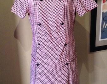 Vintage 1960s does 20s Flutterbye Seersucker Dress - L