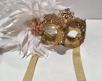 Mardi Gras Masks- Venetian Mask- Gold Mask- Lase Mask - white Feather Mask -Gold Masquerade Mask- Mask NYC- Mardi Gras- Masquerade Ball