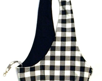 MEDIUM Black and White Plaid Dog Sling/ Black and White Check Pet Pouch/ Pet Carrier: Oakley Plaid