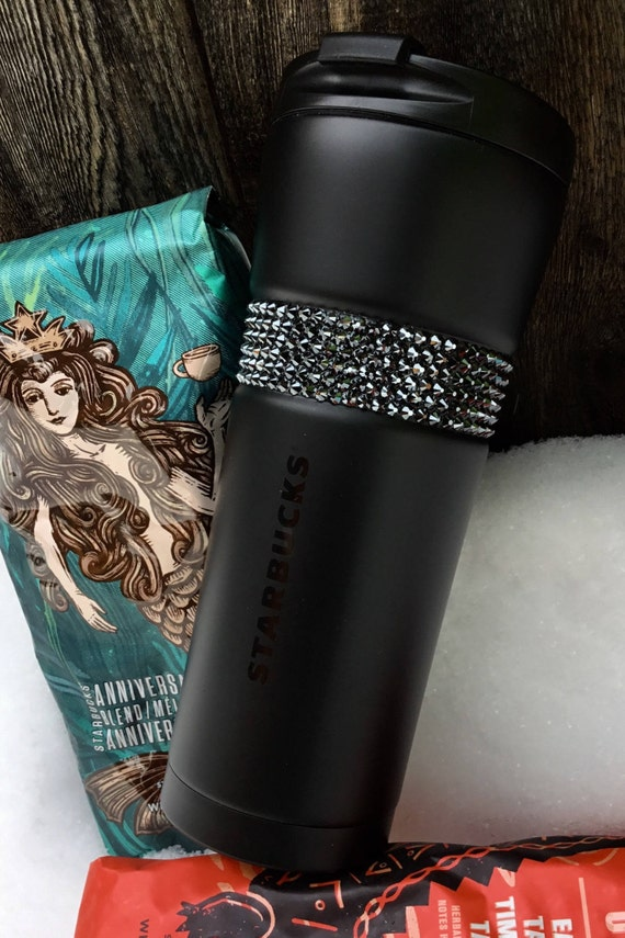 Starbucks Cup Swag Matte Black w/ Swarovski Crystal 16 Grande Christmas Holiday Stainless Travel Coffee Tea Tumbler Hematite Rhinestone Gift