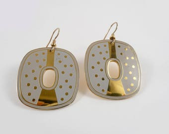 Vintage 80s Laurel Burch Gray and Gold Polka Dot Dangle Earrings