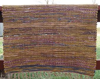 "Hand Woven Rag Rug - Little Scrappy Autumn Gold Cotton 28"" x 29"""