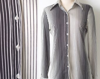 60s top, vintage black and white top, Mad Men Top,vintage stripe top,60s black top,Vintage black top,Vintage stripe top,Vintage blouse - S/M
