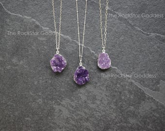 Amethyst Necklace / Amethyst Jewelry / Druzy Necklace  / February Birthstone / Raw Crystal Necklace / Gift for Her