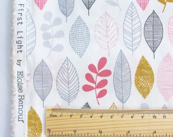 "FISRT LIGHT fabric by Eloise Renouf - Leaf Sampler Pink - Cloud 9 Fabric - Organic cotton - Half metre (19.5"")"