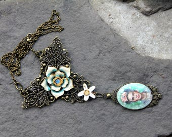 Frida Kahlo collection vintage romantic mexican style pendant necklace boho style