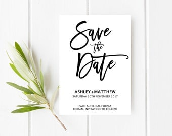 Printable Save the date, Simple Save the date, Clean save the date, Modern save the date, Calligraphy save the date, Black and white card