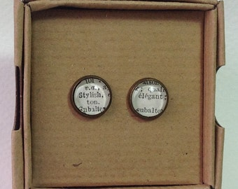 1963 French Dictionary Stud Earrings - Stylish