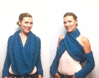 PATTERN: Wrapped in Cozy Intermediate and Beginner Knitting Pattern, Cable Knit Wrap Pattern, Scarf with Sleeves Pattern, Wrap Tie Bolero
