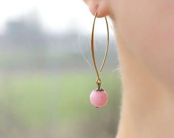 Agate Earrings Pink Agate Earrings Natural Stone Earrings Pink Earrings Brass Earrings Minimalist Earrings Delicate Earrings Long Earrings