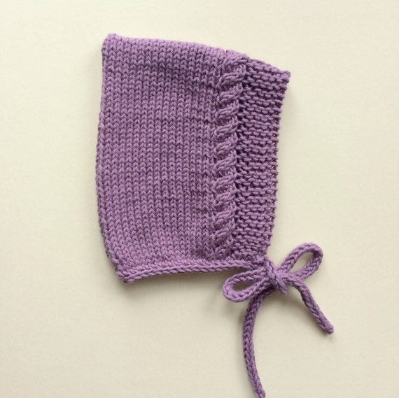 Cotton Cable Pixie Bonnet in Lavender - Size 0-3 months - Ready to Ship
