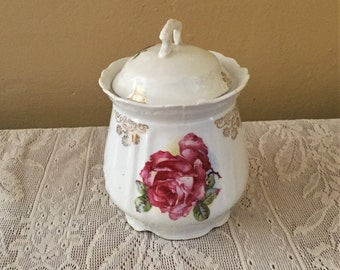 Free Shipping Antique White Porcelain China Biscuit Jar Pink/Wine Rose Gold Trim Embossed Shabby Chic