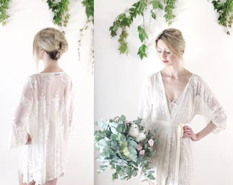 """HELENA - Petite length (30"""") guipiere lace bridal kimono - robe - dressing gown - sz small, Ready to wear - Sample Sale"""