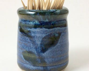 Toothpick Holder, Pottery Toothpick Holder, Blue Toothpick Holder, Ceramic Toothpick Holder, Toothpick Dispenser, Blue Toothpick Dispenser