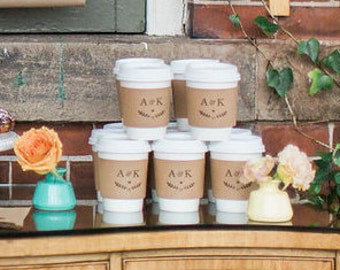 Set of 50 - Paper Cups, Lids and Custom Sleeve - Coffee Favors - Hot Chocolate Favors