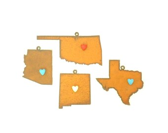 Southwest States With Heart Magnet Rusty Metal Ornament Assortment