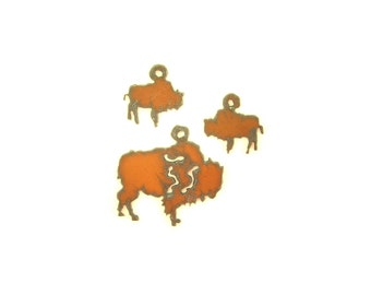 Buffalo Rusty Metal Pendant/Charm And Earrings 3-Piece Set