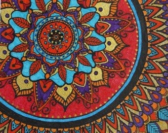 Turquoise and Red Mandala