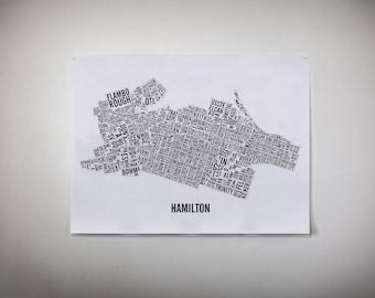 Hamilton Ontario Neighborhoods City Map - Hamilton Art - Hamilton Print