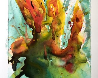 Watercolor painting yellow Iris wallartdeco