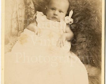 Cabinet Card Photo - Victorian Cute Baby, Christening Gown, Fur Rug Prop Portrait  - G Goodman of Margate England - Antique Photograph