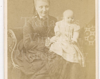 CDV Photo Victorian Pretty Woman Mother with Baby on Lap Portrait by J N Walker of Ayr Scotland - Carte de Visite Antique Photograph