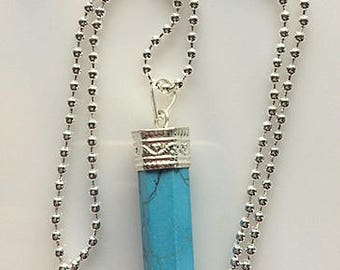 Howlite Turquoise Wand Necklace - Long Sterling Silver Chain