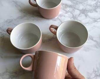 Set of 4 Pink Ceramic Coffee Mugs