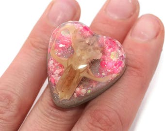 Real Mouse Skull Rings Bone Silver Pink Kawaii Pastel Goth Ring Heart Statement Taxidermy Jewelry