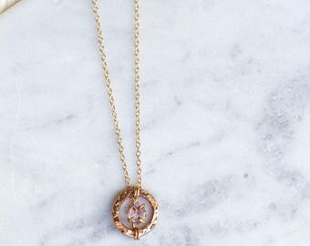 Gold + Rough Amethyst Necklace - February Birthstone Necklace