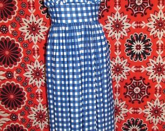 Checkered Floral Halter Dress