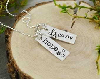 Hope & Dream Inspirational Vertical Bar Necklace - Custom Hand Stamped Jewelry