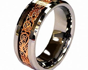 Ring AND Personalized High-Gloss Ring Box -- 8mm Tungsten Carbide Wedding Band Ring With 18k Rose Gold Celtic Dragon Inlay; Men, Women