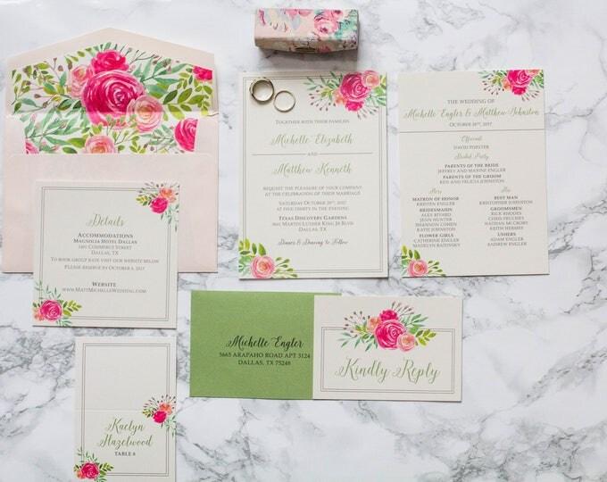 Blush Pink and Garden Green Water Color Floral Wedding Invitation, Includes Envelope Liner, Guest/Return Address Printing, Details & RSVP