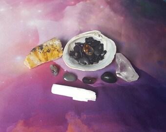 Reiki infused crystal seashell bundle hematite, shungite, smokey quartz, black tourmaline, selenite, fire agate, hand mined quartz cluster