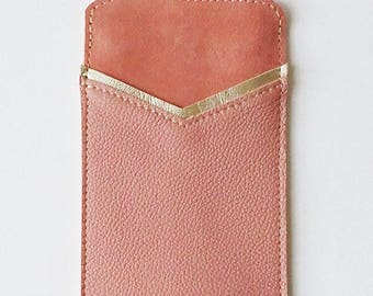 Accessory for I Phone 6, smartphone case, leather cell phone pouch, leather case, iphone cover, real leather sleeve, cotton lining, ribbon