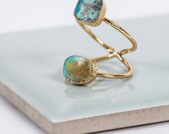 Druzy Quartz Double Gold Ring