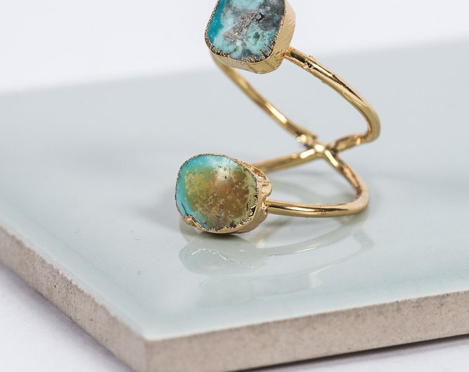 Featured listing image: Druzy Quartz Double Gold Ring