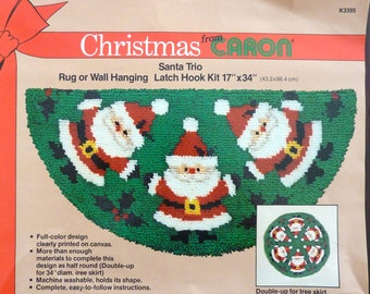 "Vintage Christmas from Caron Santa Trio Latch Hook Kit Rug or Wall Hanging 17"" X 34"" (1982)"