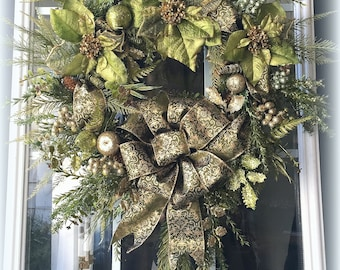 Lime Green & Gold Christmas Wreath/ Gold Christmas Wreath/ Green Christmas Wreath/ Poinsettia Wreath/ Holiday Wreath