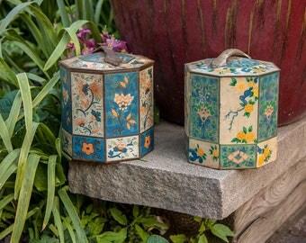 Asian Floral Motif Tea Tins Vintage Kitchen Storage Decor