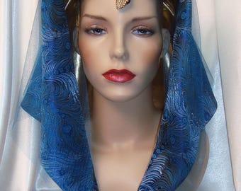 Blue Pharaoh Headpiece, Egyptian Inspired Pharaoh Nemes, Cleopatra Headdress, King Tut Headdress, King Tut Crown