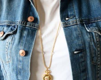 Gold tassel Locket Pendant - Long Gold Locket Necklace