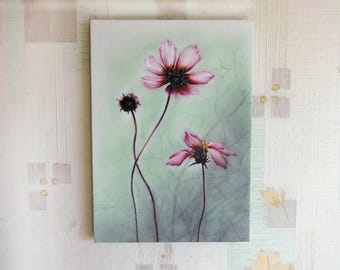 Canvas print Wall art Pink flowers Small picture panel home decor Acrylic printed original artwork painting Wedding Housewarming gift