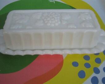 Westmoreland Milk Glass Paneled Grape Butter Dish - Jewelry, Serveware, What-Not Holder