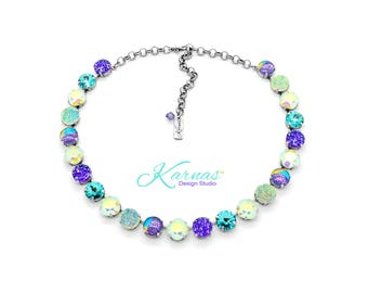 EUPHORIA 12mm Mixed Element Necklace Made With Swarovski Crystal *Pick Your Finish *Karnas Design Studio *Free Shipping