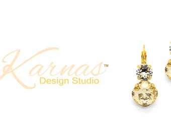 CRYSTAL & SILK 12mm/8mm Cushion Cut Double Drop Earrings Swarovski Crystal *Pick Your Finish *Karnas Design Studio™ *Free Shipping*