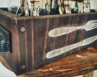 silverware caddy box kitchen utensil holder picnic caddy silverware holder outdoor patio - Silverware Holder