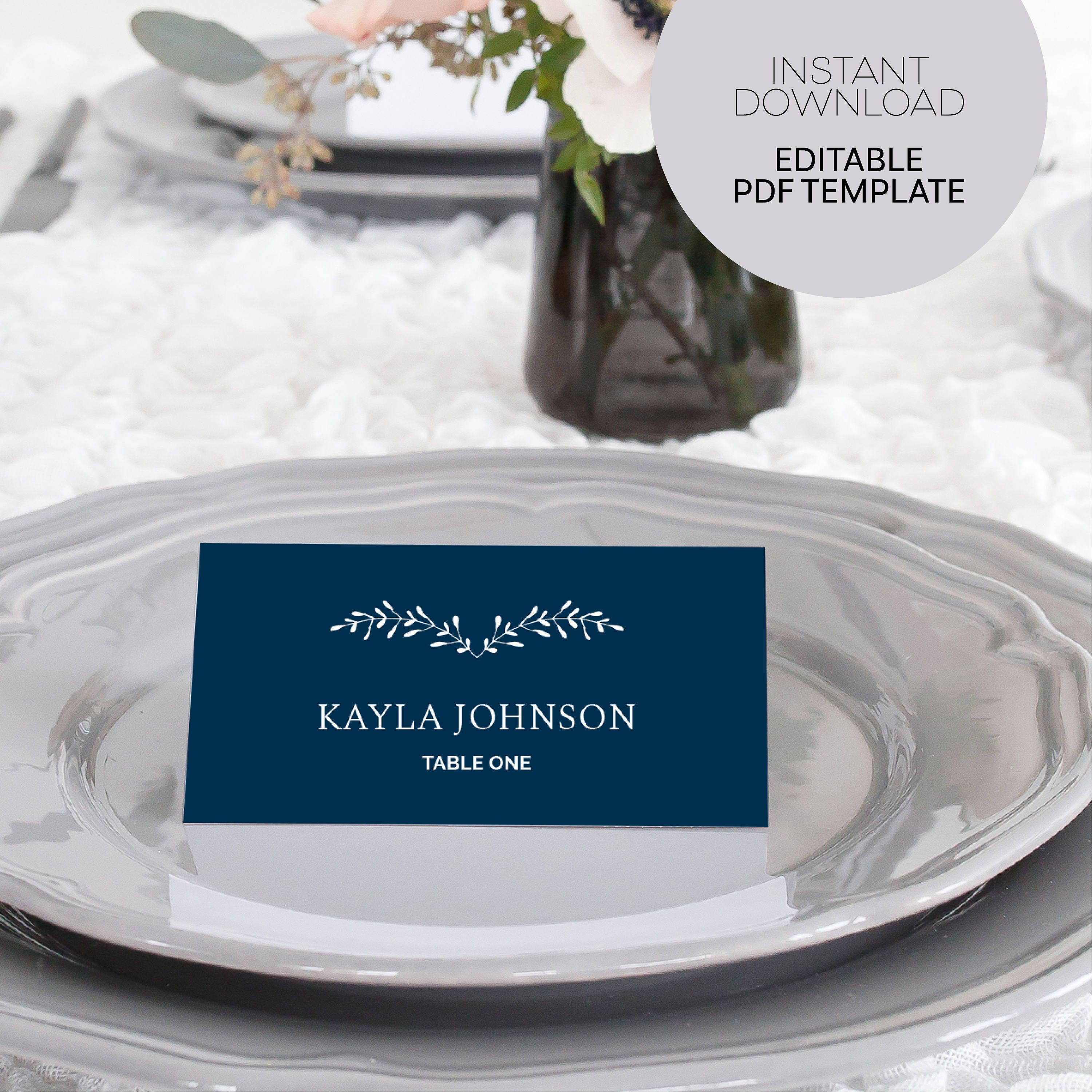 Table Place Cards - Wedding Place Cards Template - Editable Seating ...